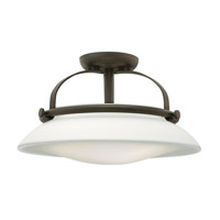 Hinkley 3321OZ Hutton 3 Light 17 inch Oil Rubbed Bronze Semi Flush Ceiling Light, Opal Glass