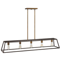 Fulton 5 Light 50 inch Bronze Linear Chandelier Ceiling Light
