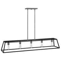 Hinkley 3335DZ Fulton 5 Light 50 inch Aged Zinc Linear Chandelier Ceiling Light