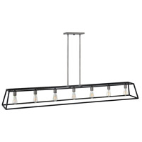 Fulton 7 Light 65 inch Aged Zinc with Antique Nickel Accents Linear Chandelier Ceiling Light