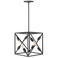 Hinkley 3374SK Hewitt 4 Light 15 inch Satin Black Chandelier Pendant Ceiling Light