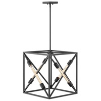 Hinkley 3375SK Hewitt 4 Light 18 inch Satin Black Chandelier Pendant Ceiling Light