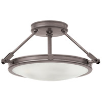 Hinkley 3381AN Collier 3 Light 17 inch Antique Nickel Foyer Semi-Flush Mount Ceiling Light