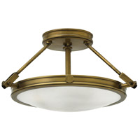 Hinkley 3381HB Collier 3 Light 17 inch Heritage Brass Foyer Semi-Flush Mount Ceiling Light in Incandescent, Etched Opal Glass