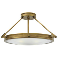 Hinkley 3382HB Collier 4 Light 22 inch Heritage Brass Foyer Semi-Flush Mount Ceiling Light, Etched Opal Glass
