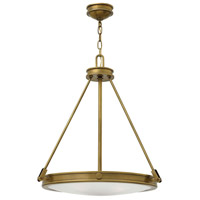 Hinkley 3384HB Collier 4 Light 22 inch Heritage Brass Inverted Pendant Ceiling Light, Etched Opal Glass
