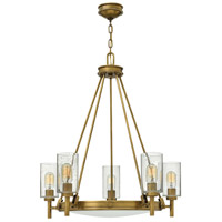 Hinkley 3385HB Collier 5 Light 27 inch Heritage Brass Foyer Chandelier Ceiling Light, Clear Seedy and Etched Glass