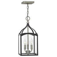 Hinkley 3413DZ Clarendon 3 Light 8 inch Aged Zinc Pendant Ceiling Light, Clear Glass