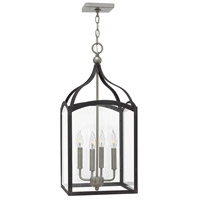 Hinkley 3415DZ Clarendon 4 Light 12 inch Aged Zinc Foyer Light Ceiling Light, Clear Glass