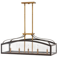 Clarendon 5 Light 30 inch Bronze Linear Chandelier Ceiling Light