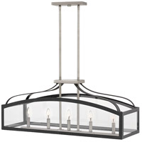 Clarendon 5 Light 36 inch Aged Zinc Linear Chandelier Ceiling Light