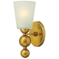 Zelda 1 Light 6 inch Vintage Brass Wall Sconce Wall Light, Etched Glass