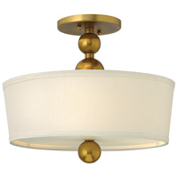 Zelda 3 Light 15 inch Vintage Brass Semi Flush Ceiling Light in Incandescent, Etched Glass