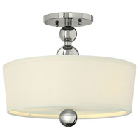 Hinkley 3441PN-LED Zelda 1 Light 15 inch Polished Nickel Semi-Flush Mount Ceiling Light in LED, Off-White Linen Shade