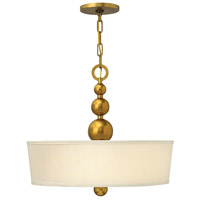 Zelda 3 Light 20 inch Vintage Brass Inverted Pendant Ceiling Light, Etched Glass