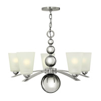 Hinkley 3445PN Zelda 5 Light 27 inch Polished Nickel Chandelier Ceiling Light, Etched Glass