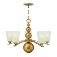 Zelda 5 Light 27 inch Vintage Brass Chandelier Ceiling Light, Etched Glass