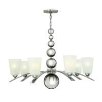 Hinkley 3446PN Zelda 7 Light 32 inch Polished Nickel Chandelier Ceiling Light, Etched Glass