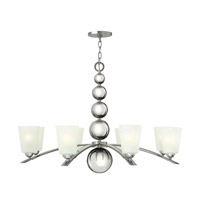 Hinkley 3448PN Zelda 8 Light 38 inch Polished Nickel Chandelier Ceiling Light, Etched Glass