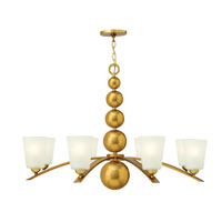 Hinkley 3448VS Zelda 8 Light 38 inch Vintage Brass Chandelier Ceiling Light, Etched Glass