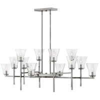 Hinkley 3459PL Arden 12 Light 50 inch Polished Antique Nickel Linear Chandelier Ceiling Light, Stem Hung