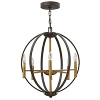 Hinkley 3466SB Euclid 6 Light 21 inch Spanish Bronze Foyer Chandelier Ceiling Light
