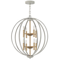Hinkley 3468CG Euclid 8 Light 28 inch Cement Gray/Heirloom Brass Chandelier Ceiling Light