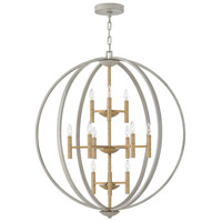 Hinkley 3469CG Euclid 12 Light 36 inch Cement Gray/Heirloom Brass Chandelier Ceiling Light
