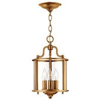 Gentry 3 Light 8 inch Heirloom Brass Foyer Light Ceiling Light, Clear Rounded Panels Glass