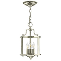 Hinkley 3470PN Gentry 3 Light 8 inch Polished Nickel Foyer Light Ceiling Light Clear Rounded Panels Glass