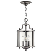 Hinkley 3470PW Gentry 3 Light 8 inch Pewter Foyer Light Ceiling Light in Clear Rounded Panels