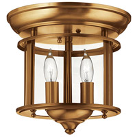 Gentry 2 Light 10 inch Heirloom Brass Foyer Flush Mount Ceiling Light in Clear Rounded Panels, Clear Rounded Panels Glass