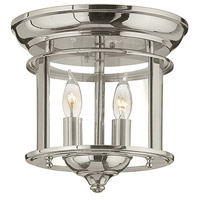 Hinkley 3472PN Gentry 2 Light 10 inch Polished Nickel Foyer Flush Mount Ceiling Light, Clear Rounded Panels Glass