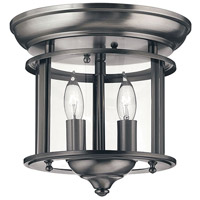 Gentry 2 Light 10 inch Pewter Semi Flush Ceiling Light in Clear Rounded Panels