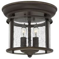 Hinkley 3472OB Gentry 2 Light 10 inch Olde Bronze Flush Mount Ceiling Light in Clear Seedy Panels