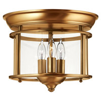 Gentry 3 Light 12 inch Heirloom Brass Foyer Flush Mount Ceiling Light in Clear Rounded Panels, Clear Rounded Panels Glass