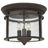 Hinkley 3473OB Gentry 3 Light 12 inch Olde Bronze Foyer Flush Mount Ceiling Light in Clear Seedy Panels