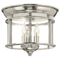 Hinkley 3473PN Gentry 3 Light 12 inch Polished Nickel Foyer Flush Mount Ceiling Light, Clear Rounded Panels Glass