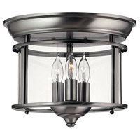 Hinkley 3473PW Gentry 3 Light 12 inch Pewter Foyer Flush Mount Ceiling Light in Clear Rounded Panels