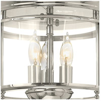 Hinkley 3473PN Gentry 3 Light 12 inch Polished Nickel Foyer Flush Mount Ceiling Light, Clear Rounded Panels Glass alternative photo thumbnail