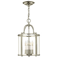 Hinkley 3474PN Gentry 4 Light 12 inch Polished Nickel Foyer Light Ceiling Light Clear Rounded Panels Glass