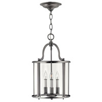 Hinkley 3474PW Gentry 4 Light 12 inch Pewter Hanging Foyer Ceiling Light in Clear Bent
