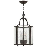 Hinkley 3474OB Gentry 4 Light 12 inch Olde Bronze Foyer Ceiling Light in Clear Seedy Panels