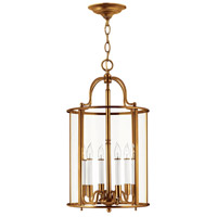 Gentry 6 Light 14 inch Heirloom Brass Foyer Light Ceiling Light in Clear Rounded Panels, Clear Rounded Panels Glass