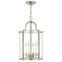 Hinkley 3478PN Gentry 6 Light 14 inch Polished Nickel Foyer Light Ceiling Light in Clear Rounded Panels, Clear Rounded Panels Glass