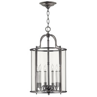 Gentry 6 Light 14 inch Pewter Hanging Foyer Ceiling Light in Clear Bent