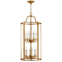 Hinkley 3479HR Gentry 12 Light 17 inch Heirloom Brass Foyer Light Ceiling Light in Clear Rounded Panels, Clear Rounded Panels Glass