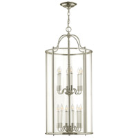 Hinkley 3479PN Gentry 12 Light 17 inch Polished Nickel Foyer Light Ceiling Light in Clear Rounded Panels, Clear Rounded Panels Glass