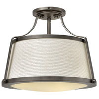 Hinkley 3521AN Charlotte 3 Light 16 inch Antique Nickel Semi-Flush Mount Ceiling Light in Etched, Off-White Fabric Shade