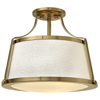 Hinkley 3521BC Charlotte 3 Light 16 inch Brushed Caramel Semi-Flush Mount Ceiling Light in Etched, Off-White Fabric Shade